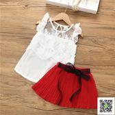 女童洋氣套裝夏時尚寶寶兒童衣服潮上衣 裙子透氣雪紡兩件套  一件免運