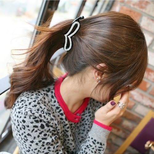 韓版愛心鑲鑽香蕉夾 抓夾 髮夾 (0229)