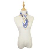 闕蘭絹宮廷馬車100%蠶絲方巾-藍色S24-5