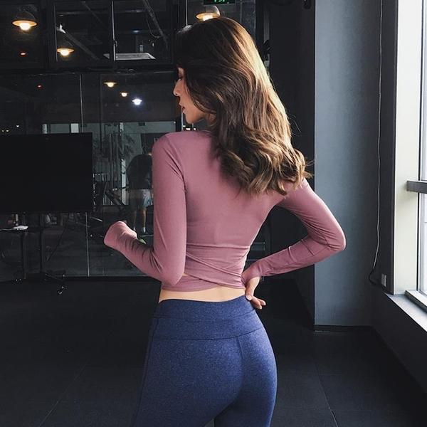 性感露臍交叉運動緊身衣女速干健身衣跑步長袖彈力透氣瑜伽服T恤