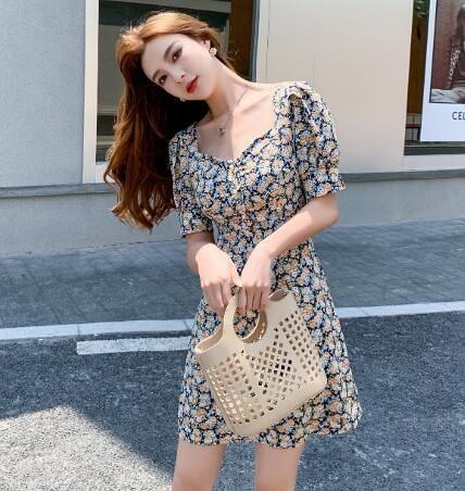 出清388 韓國風名媛碎花復古收腰顯瘦方領雪紡短袖洋裝
