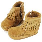 MINNETONKA 沙棕色雙層流蘇麂皮莫卡辛 嬰兒短靴(展示品)