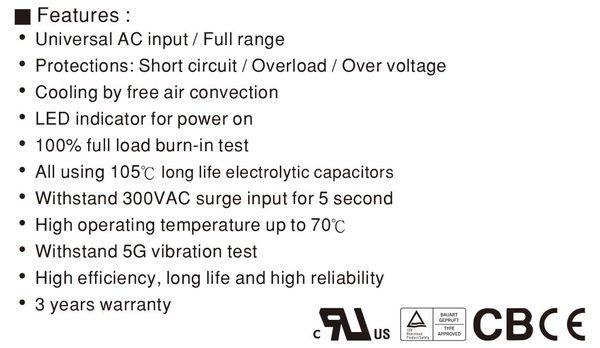 明緯MW 5V/6A 24V/2A 50W RD-50B 機殼型(Enclosed Type)交換式電源供應器