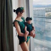 兒童泳衣女孩親子性感露背裝小中大童韓版女童連身游泳衣發帶套裝  ◣歐韓時代◥