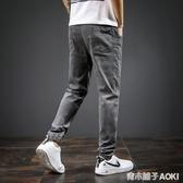 秋季牛仔褲男士夏天薄款寬鬆直筒工裝束腳休閒修身小腳長褲子 青木鋪子