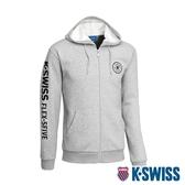 K-SWISS Branding Logo Hoodie Jacket刷毛連帽外套-男-淺灰