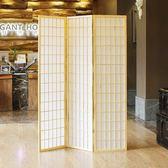 式無紡布木格實木折疊和風拍攝屏風 料理店隔斷  三扇 xw