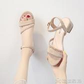 (快出)涼鞋 女士仙女風年夏季新款百搭中跟粗跟學生時裝高跟鞋ins潮
