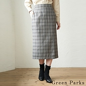 「Autumn」特色下擺開叉格紋合身裙 - Green Parks