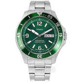 FOSSIL / FS5690 / FB-02 霸氣型男 星期日期 日本機芯 防水100米 不鏽鋼手錶 綠色 49mm