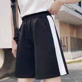 DE shop -經典款側邊撞色白條鬆緊腰收腰多口袋運動褲女高腰短褲顯瘦直筒褲五分休閒褲 HL-2445