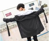 FINDSENSE H1 2018 夏季 新款 個性條紋 織帶 長袖襯衫 潮流