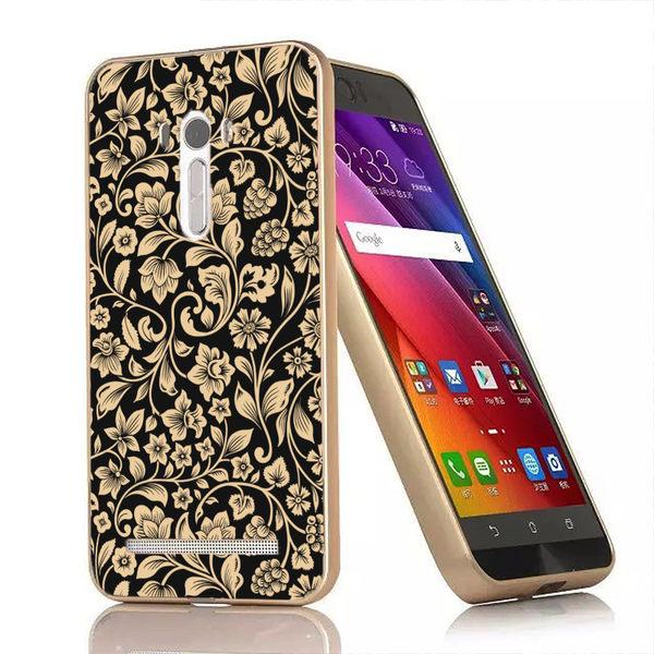 ♥ 俏魔女美人館 ♥{金色花朵-立體浮雕金屬邊框}ASUS Zenfone Selfie手機殼 保護套 保護殼 保護套