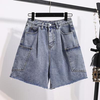 寬版大碼短褲~M-5XL大碼牛仔短褲~高腰牛仔短褲女薄款大碼胖mm闊腿褲MC077衣時尚