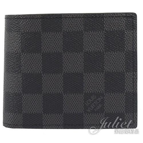 Louis Vuitton LV N63336 Marco 黑棋盤格紋雙折零錢短夾 全新 預購【茱麗葉精品】