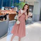 清倉$388 韓國學院風格子娃娃領寬鬆腰帶修身短袖洋裝