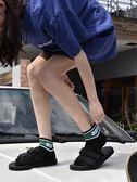 ins襪子女短襪男潮牌襪街頭歐美嘻哈滑板襪女潮襪中筒條紋原宿襪
