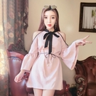 新款夜店女裝名媛時尚性感露肩喇叭袖繫帶收腰顯瘦洋裝
