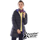 PolarStar 女 長版超輕連帽羽絨外套 『黑』 P15238