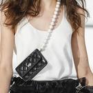 網紅小白同款小香風菱格小方包珍珠錬條斜跨包小包包女手機包新款