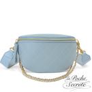 La Poche Secrete胸腰包 簡約真皮菱格鍊條斜背胸腰包-天空藍 CHL-7197