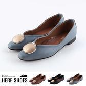[Here Shoes]包鞋-MIT台灣製 低跟V型尖頭鞋 純色百搭 OL通勤鞋 娃娃鞋-KT2521