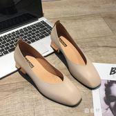 粗跟高跟鞋單鞋女2019夏秋季女鞋英倫風百搭粗跟高跟鞋奶奶瑪麗珍工作鞋子 PA8059『棉花糖伊人』