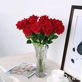 假花裝飾擺件仿真玫瑰花時尚簡約大氣套裝歐式客廳餐桌花藝插花家居裝飾 KB7776【歐巴生活館】
