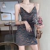 緊身洋裝 收腰顯瘦V領性感吊帶洋裝法式收腰顯瘦緊身豹紋包臀裙【快速出貨】