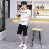 2019夏季套裝男士短袖T恤5五分褲一套衣服休閒短褲運動服純棉半袖 依凡卡時尚