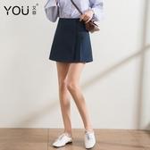 百褶裙短裙女春季2019新款韓版學生顯瘦高腰A字裙黑色港味半身裙
