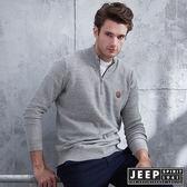 【JEEP】開襟圓領刷毛長袖針織衫 (淺灰色)