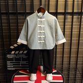 男童長袖復古棉麻漢服兒童秋季民族風套裝周歲男寶寶中國風唐裝潮 萬聖節服飾九折