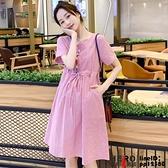 洋裝連身裙孕婦裝夏裝連身裙小個子條紋繡花寬松可調節薄款襯衫裙子
