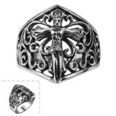 鈦鋼戒指 耶穌-經典復古歐美潮流生日情人節禮物男飾品73le236【時尚巴黎】