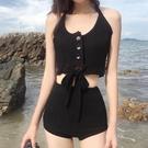 泳裝 韓國分體游泳衣高腰掛脖針織女正韓性感綁帶顯瘦遮肚沙灘泳裝-Ballet朵朵