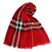 BURBERRY經典格紋羊毛絲綢圍巾(鮮紅色)089513-2