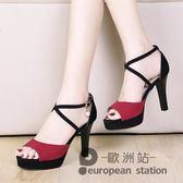 魚口涼鞋/高跟鞋夏新款女百搭細跟韓版一字扣女士露趾簡約性感「歐洲站」