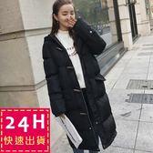 梨卡 - 韓國空運情侶可穿中長版加厚牛角扣羽絨棉鋪棉防風保暖禦寒風衣外套大衣A6006