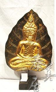 木雕藝品 擺件 家居裝飾品菩提葉佛打坐