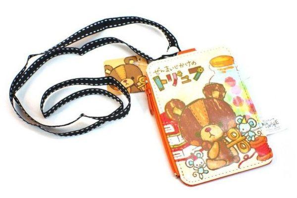♥小花花日本精品♥ Truffe熊 發條熊 泰迪熊 皮質頸繩 零錢包 票夾 票卡夾 附頸繩 插畫風 58884904