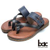 ★2018春夏新品★【bac】舒適真皮沖孔皮帶裝飾真皮夾腳鞋(黑藍)