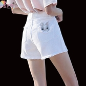 牛仔短褲 白色牛仔短褲女夏新款韓版顯瘦高腰百搭休閒A字闊腿短褲女熱