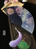 中國風扇子紫色系漸變牡丹扇蝴蝶復古典女折扇子工藝扇禮品扇夏季 薔薇時尚