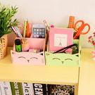 【Miss Sugar】筆筒木質化妝品收納盒可愛貓咪筆筒便簽盒