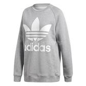 adidas 長袖T恤 Oversize Sweatshirt 灰 白 女款 三葉草 長版 【PUMP306】 DH3125