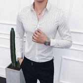 男士長袖條紋襯衫 正韓修身簡約美發師小清新細條紋襯衣英倫
