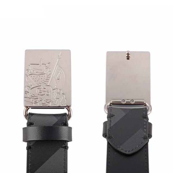 【BURBERRY】戰馬騎士扣環London格紋拼皮革皮帶 8006053 A1008