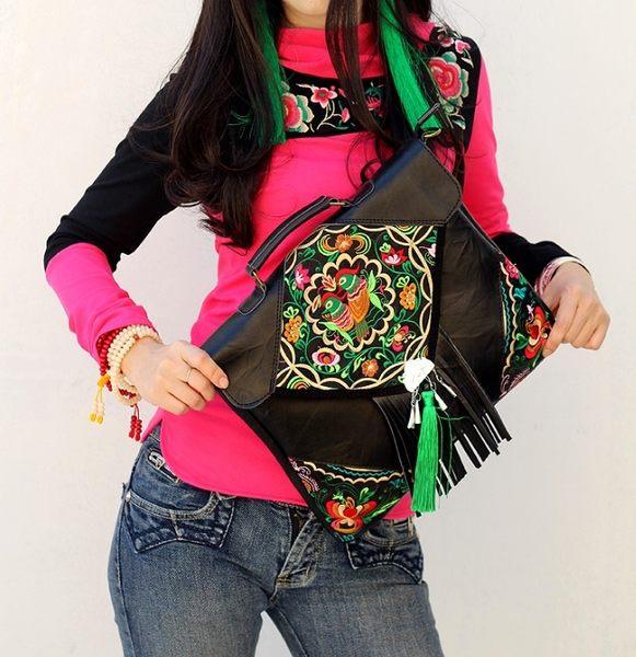 熱銷歐美 民族風包包 手工刺繡包 牛皮材質 男女 手提肩背包 旅行 斜背包 胸包 腰包 電腦包