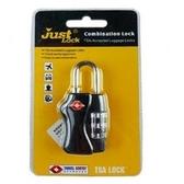 【PUSH!】旅遊用品3碼式TSA專用行李鎖黑色S24